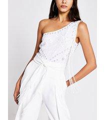 river island womens white embellished one shoulder bodysuit