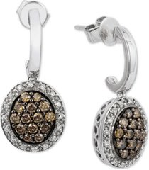 le vian chocolatier diamond cluster drop earrings (5/8 ct. t.w.) in 14k white gold