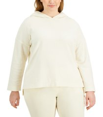 alfani plus size modern lounge hooded top, created for macy's