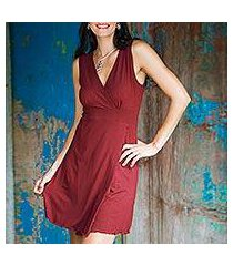 jersey knit dress, 'sumatra in maroon chic' (indonesia)