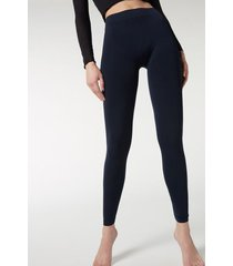 calzedonia super opaque microfiber leggings woman blue size 3/4