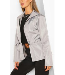 shell peplum drawstring jacket, grey