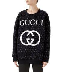 women's gucci logo crystal sweatshirt