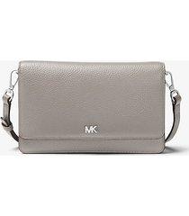 mk borsa a tracolla convertibile in pelle martellata - grigio perla (grigio) - michael kors