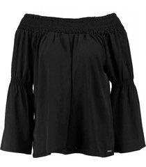 glamorous soepele zwarte off shoulder blouse deels openvallende rug