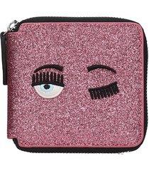 chiara ferragni wallet in rose-pink leather