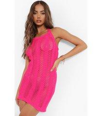 gebreide gehaakte mini jurk met halter neck, pink