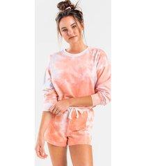 jax tie-dye lounge sweatshirt - coral