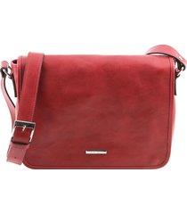 tuscany leather tl141301 tl messenger - borsa a tracolla 1 scomparto - misura media rosso