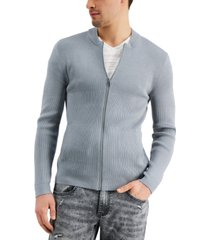 inc international concepts men's regular-fit ribbed-knit full-zip bomber cardigan, created for macy's