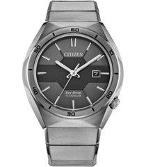 citizen men's armor eco-drive silver-tone titanium bracelet watch 41mm