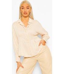 blouse met taille detail en volle mouwen, sand