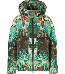 burberry submarine print padded coat - green