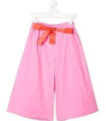 raspberry plum sasha tie-waist culottes - pink