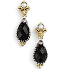 women's konstantino 'nykta' pearl & black onyx drop earrings