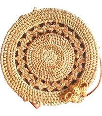 bolsa de palha redonda g rattan com alça de couro com detalhes vazados feminina