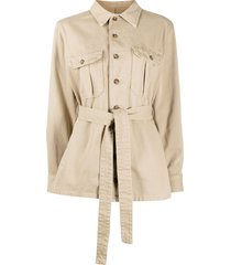 boyish denim belted long sleeve shirt - neutrals
