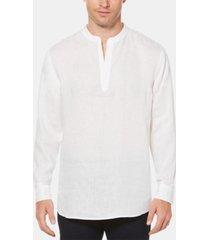 perry ellis men's linen chambray popover shirt