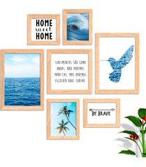 conjunto kit 7 quadro oppen house s frases reflexã£o home sueet be brave sentimentos moldura e vidro - azul/multicolorido - dafiti