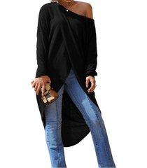 zanzea mujer de manga larga cruzada de hendidura de cultivos asimétrico tops alto bajo blusa negro -negro