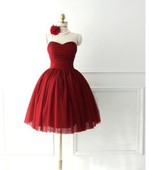 charming sweetheart short tulle burgundy homecoming party dress/cocktail dress