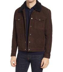 men's reiss miles suede & genuine shearling trucker jacket, size xx-large - brown