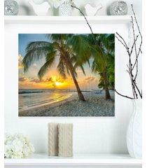 "designart 'beach in caribbean island of barbados' modern seascape metal artwork - 20"" x 12"""