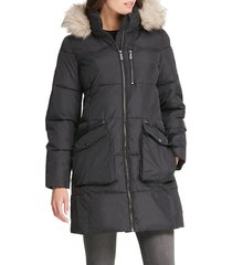 dkny women's quilted faux fur-trim hooded coat - deep plum - size l