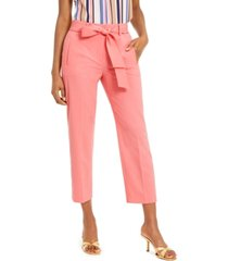 bar iii bi-stretch belted tie ankle pants, created for macy's