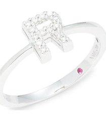 18k white gold, ruby & diamond initial ring