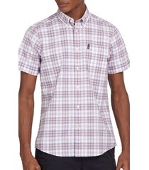 barbour tailored fit country check short sleeve button-down shirt, size small in faded pink at nordstrom