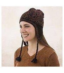 100% alpaca chullo hat, 'floral andes' (peru)