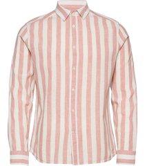 cotton linen stripe slim shirt overhemd casual roze j. lindeberg