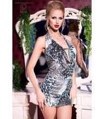 * chilirose waterval jurk in blauw luipaard print cr4225