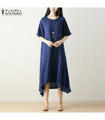 zanzea larga de las mujeres vestido de tirantes midi el columpio vestido del tamaño del cordón del ganchillo kaftan plus -azul