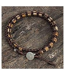 jasper and leather wrap bracelet, 'stone charms' (thailand)