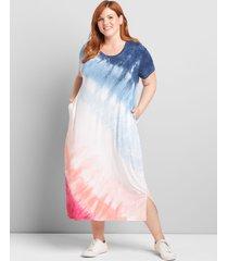 lane bryant women's jersey midi dress 18/20 vacation tie dye