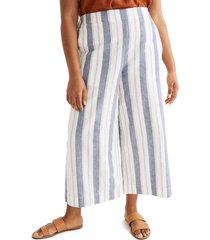 women's madewell huston stripe linen & cotton pull-on crop pants