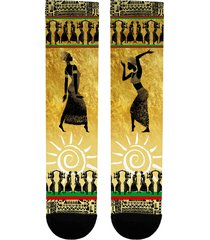 african dancers art tribal socks gold rbg pattern red black & green afrocentric
