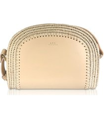 a.p.c. designer handbags, woven straw & natural beige leather mini demi-lune crossbody bag