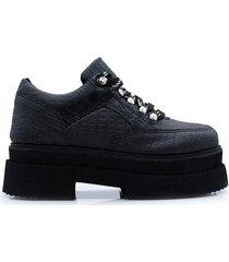 zapato negro kandil crocco mujer