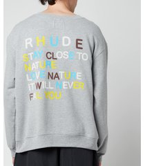 rhude men's wolf in nature graphic sweatshirt - heather grey - l
