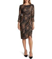 women's tahari print knotted dress, size 8 - black