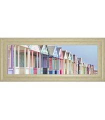 """classy art summer beach huts by assaf frank framed print wall art - 18"""" x 42"""""""