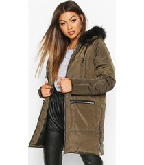 faux fur trim zip detail parka, khaki