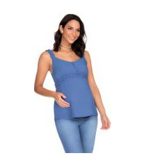 blusa amamentaçáo megadose moda gestante regata azul