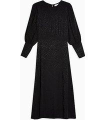 black jacquard midi dress - black