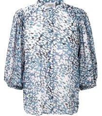 blouse met print clouds  blauw