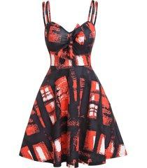 plaid print bowknot cami a line dress
