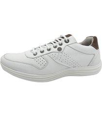 calçado masculino sapatênis em couro kéffor cor branco linha sevilha - kanui